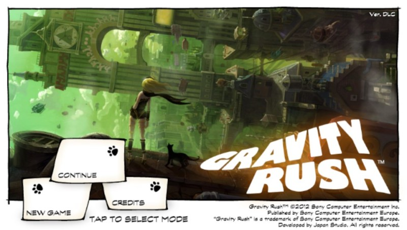 Gravity Rush Main Menu